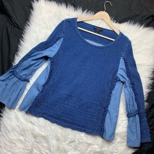 INC chambray blue bell sleeve knit long sleeve top